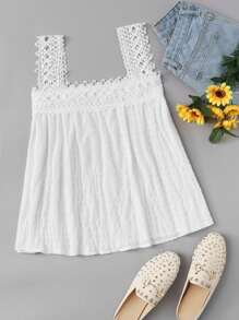 Crochet Lace Panel Top ROMWE