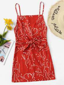 Self Tie Waist Cami Dress