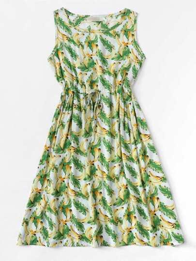 Romwe / Drawstring Waist Banana Print Dress