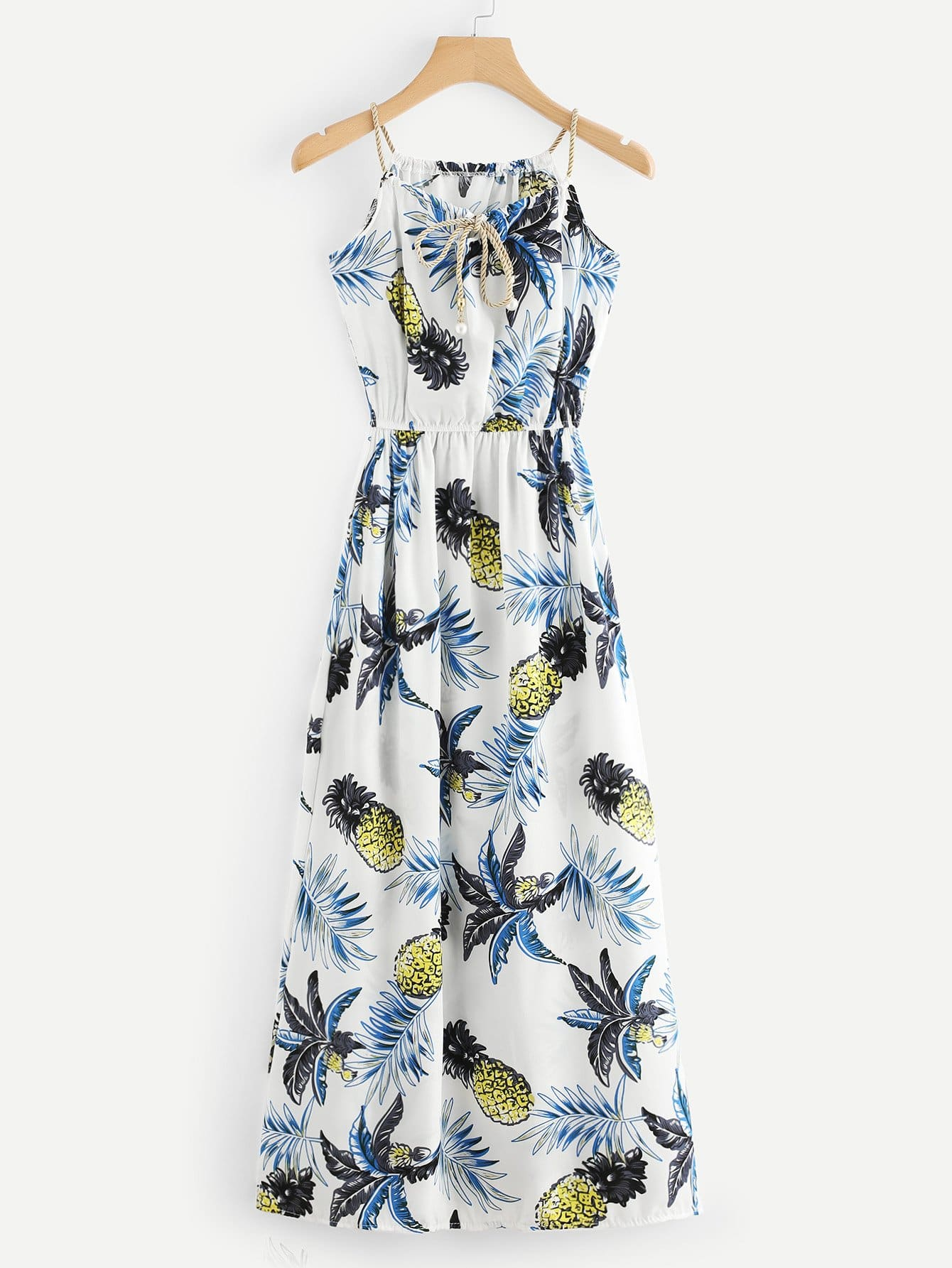 Pineapple Print Faux Pearl Detail Cami Dress
