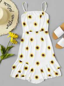 Sunflower Print Tie Front Ruffle Cami Dress