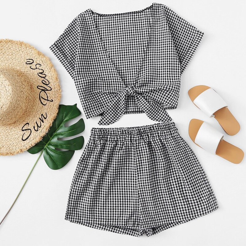 Tie Front Gingham Top With Shorts, Black and white