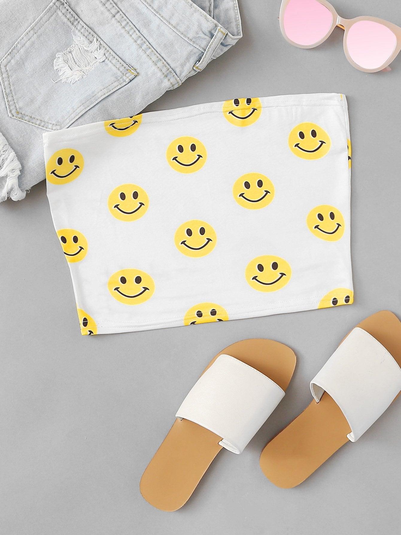 Smile Face Print Bandeau Top
