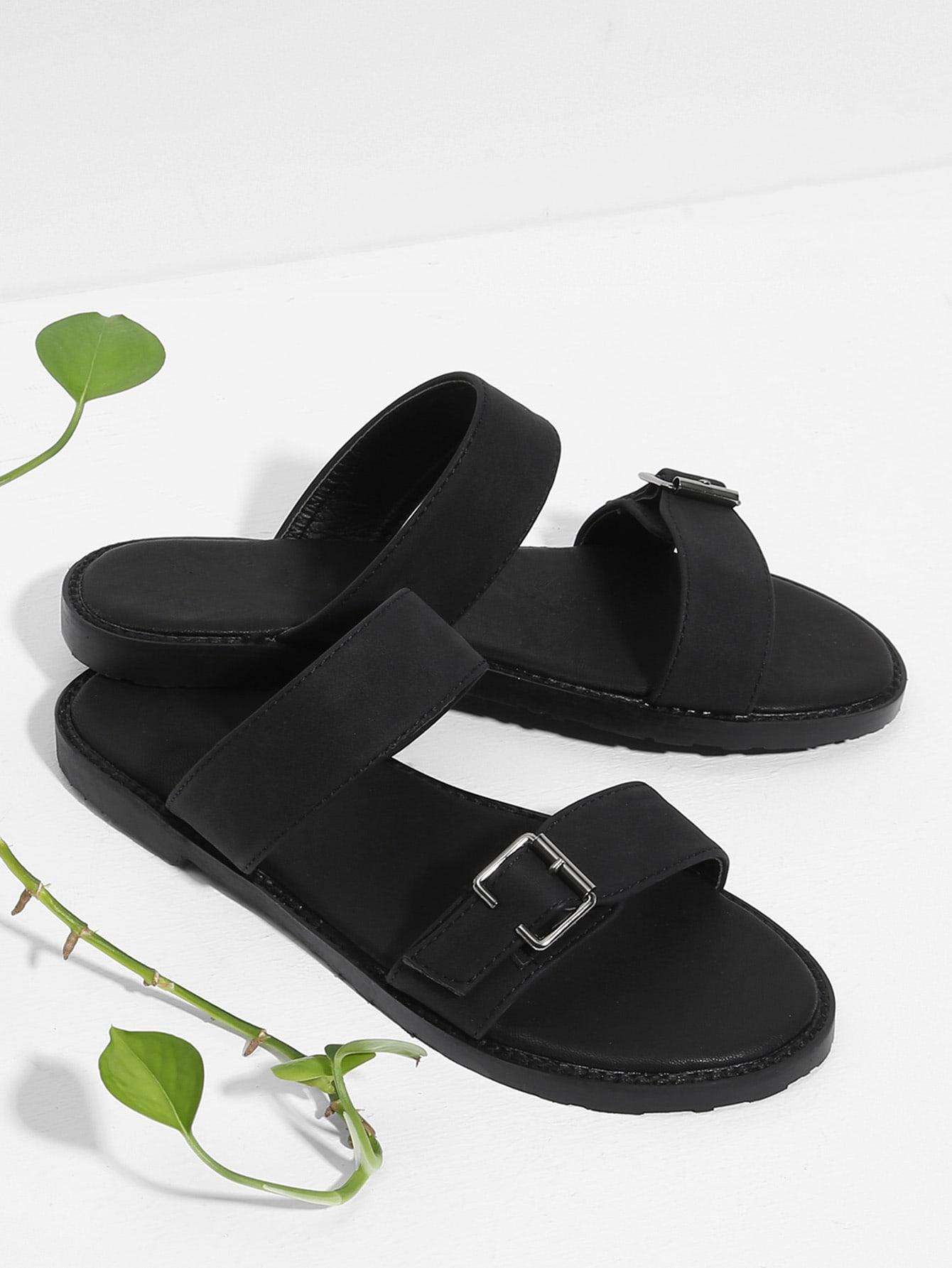 Плоские сандалии с застежкой, null, SheIn  - купить со скидкой