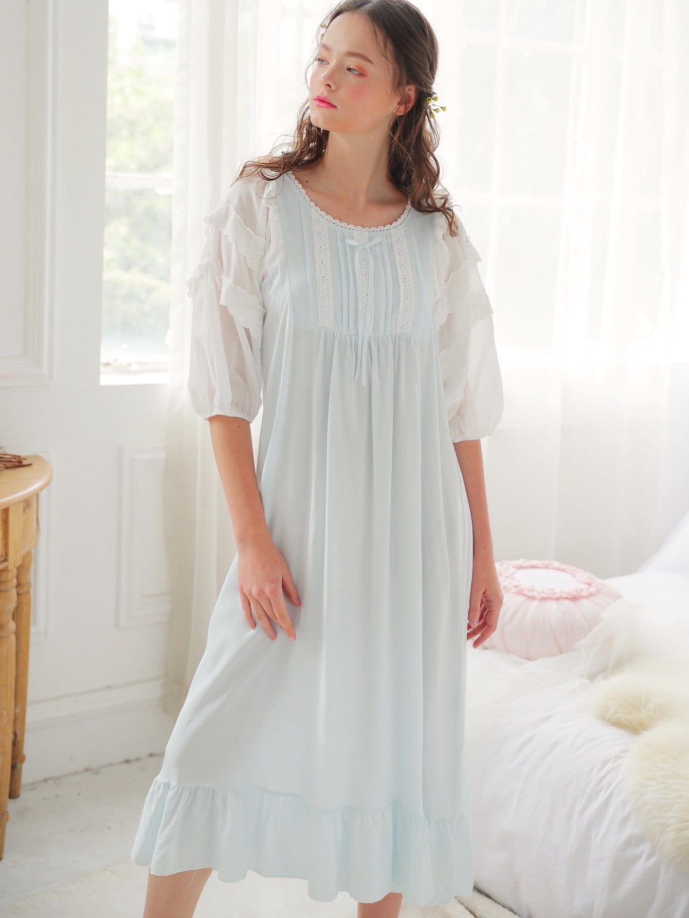 Contrast Lace Ruffle Hem Night Dress contrast mesh ruffle hem night dress