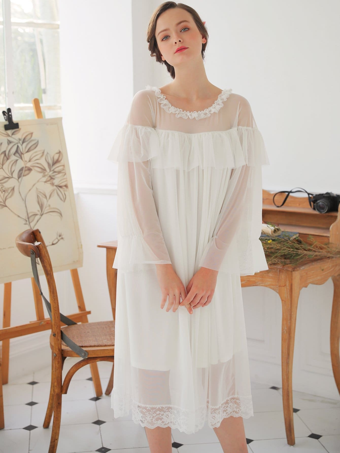 Contrast Mesh Ruffle Hem Night Dress ruffle hem gingham contrast mesh skirt
