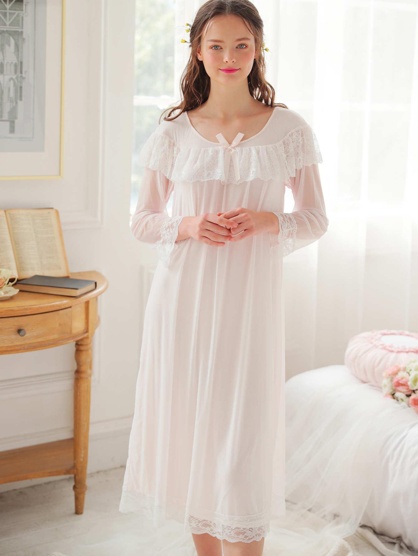 Contrast Lace Pleated Night Dress contrast mesh box pleated plain dress