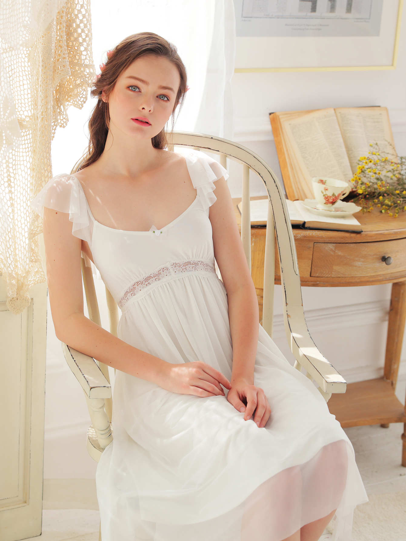 Contrast Mesh Pleated Night Dress contrast mesh box pleated plain dress
