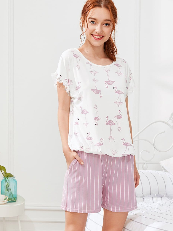 Flamingo Print Tee & Striped Shorts PJ Set все цены