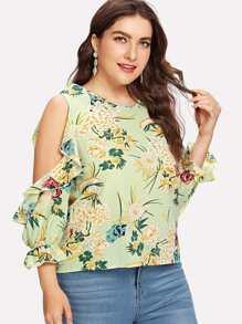 Open Shoulder Floral Print Top