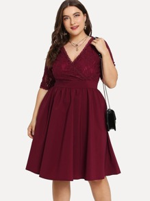 Plus V-Neckline Lace Panel Dress