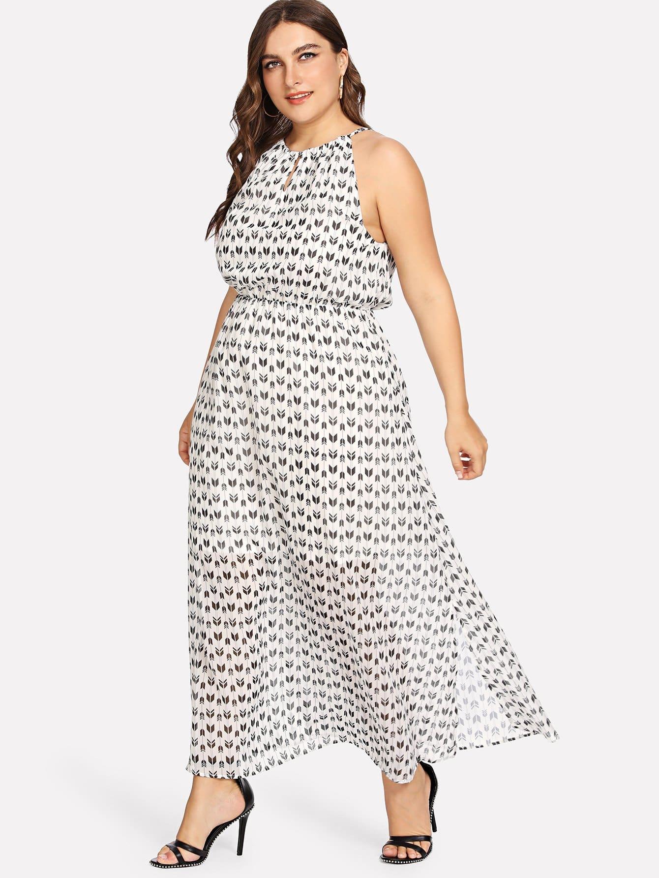 Random Print Halter Dress random flower print dress