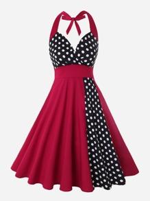 Polka Dot Panel Knot Halter Dress