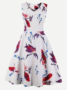 V-Neckline Lace Panel Dress