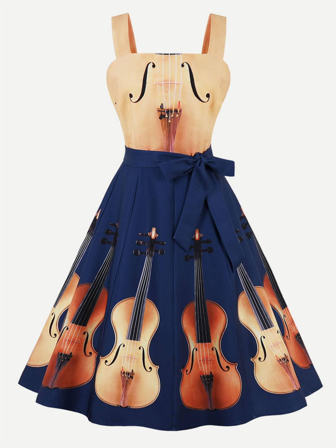Guitar Print Knot Side Dress guitar print knot side dress