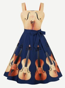 Guitar Print Knot Side Dress