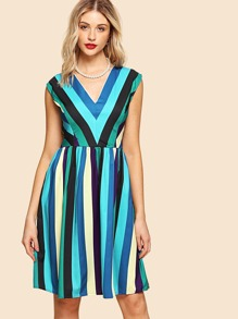 V-Neckline Striped Dress
