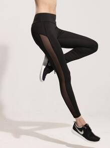 Sheer Mesh Panel Leggings