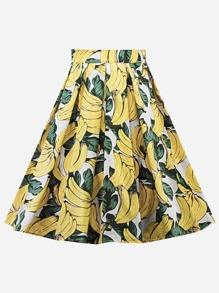 Banana Print Circle Skirt