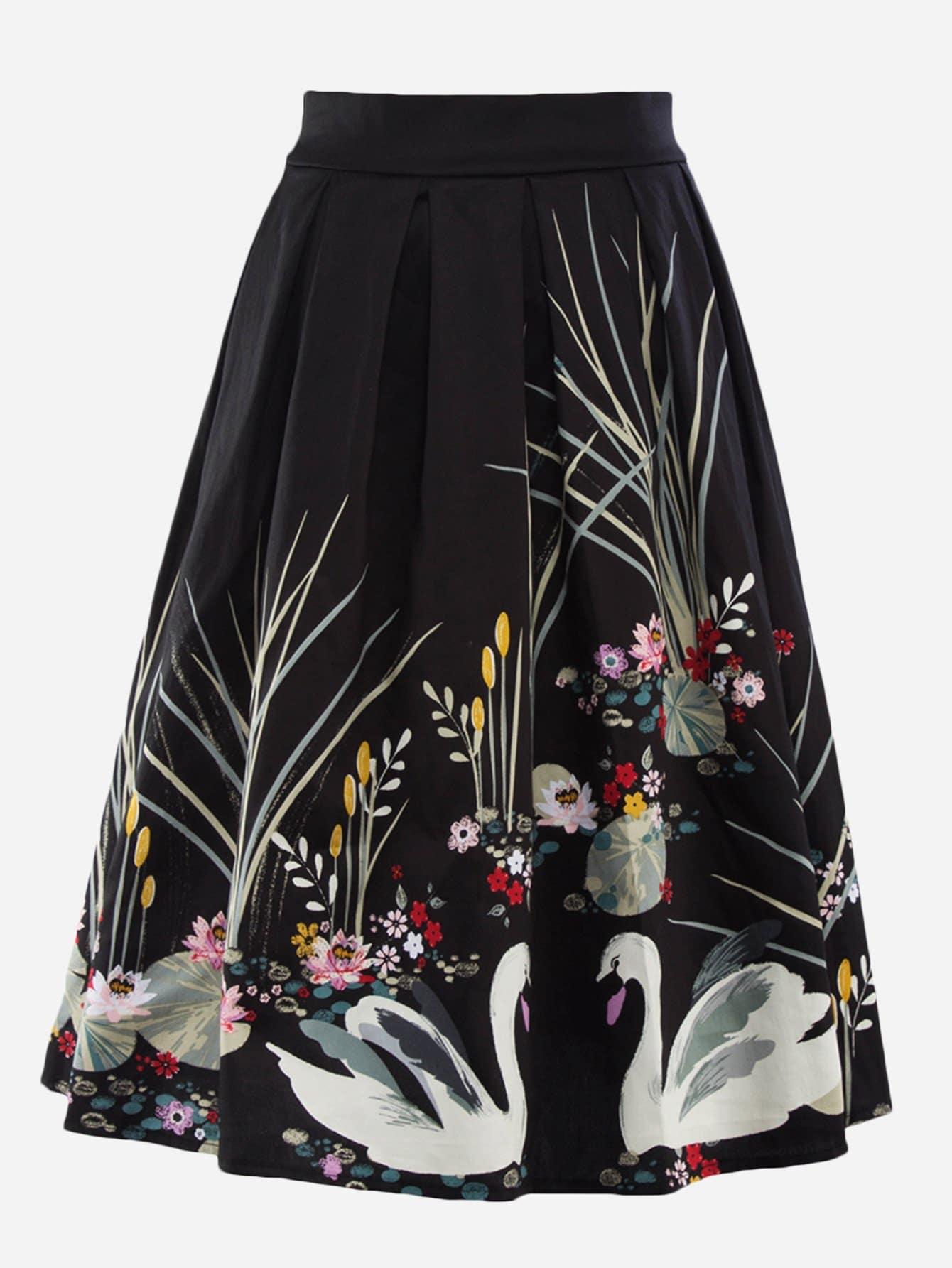 Swan Print Circle Skirt