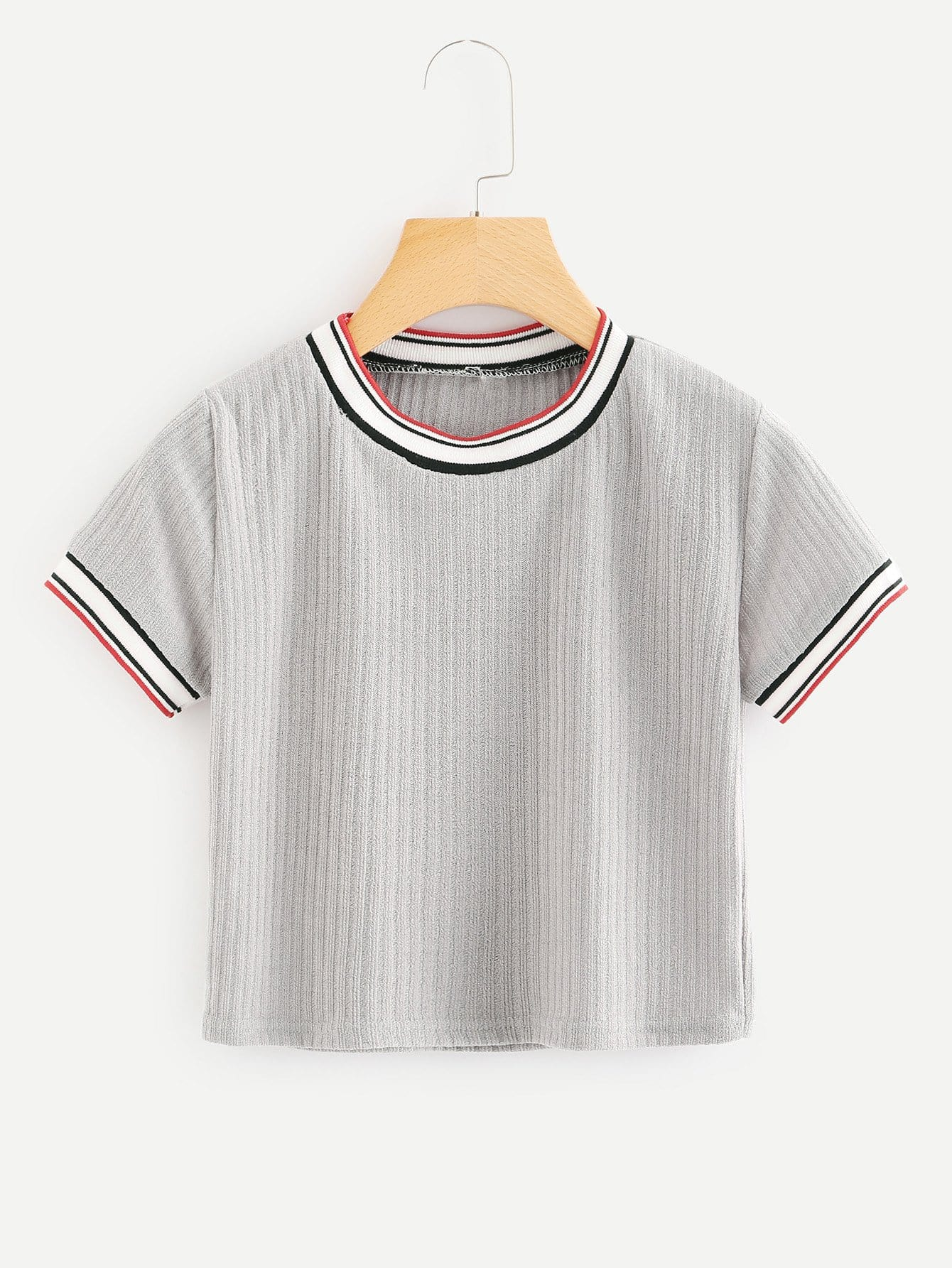 Striped Tape Panel Knit Tee цена