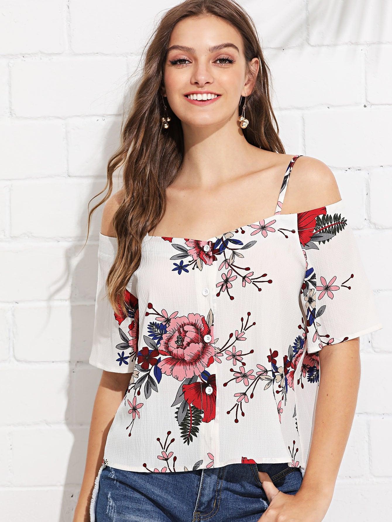 Open Shoulder Floral Print Blouse one shoulder floral print blouse