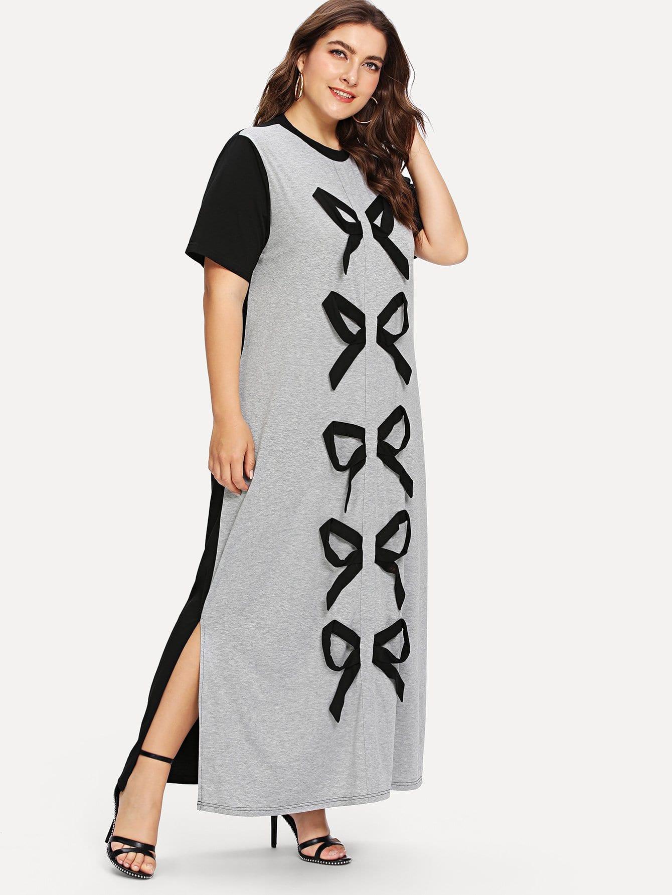 Plus Bow Detail Color Block Dress