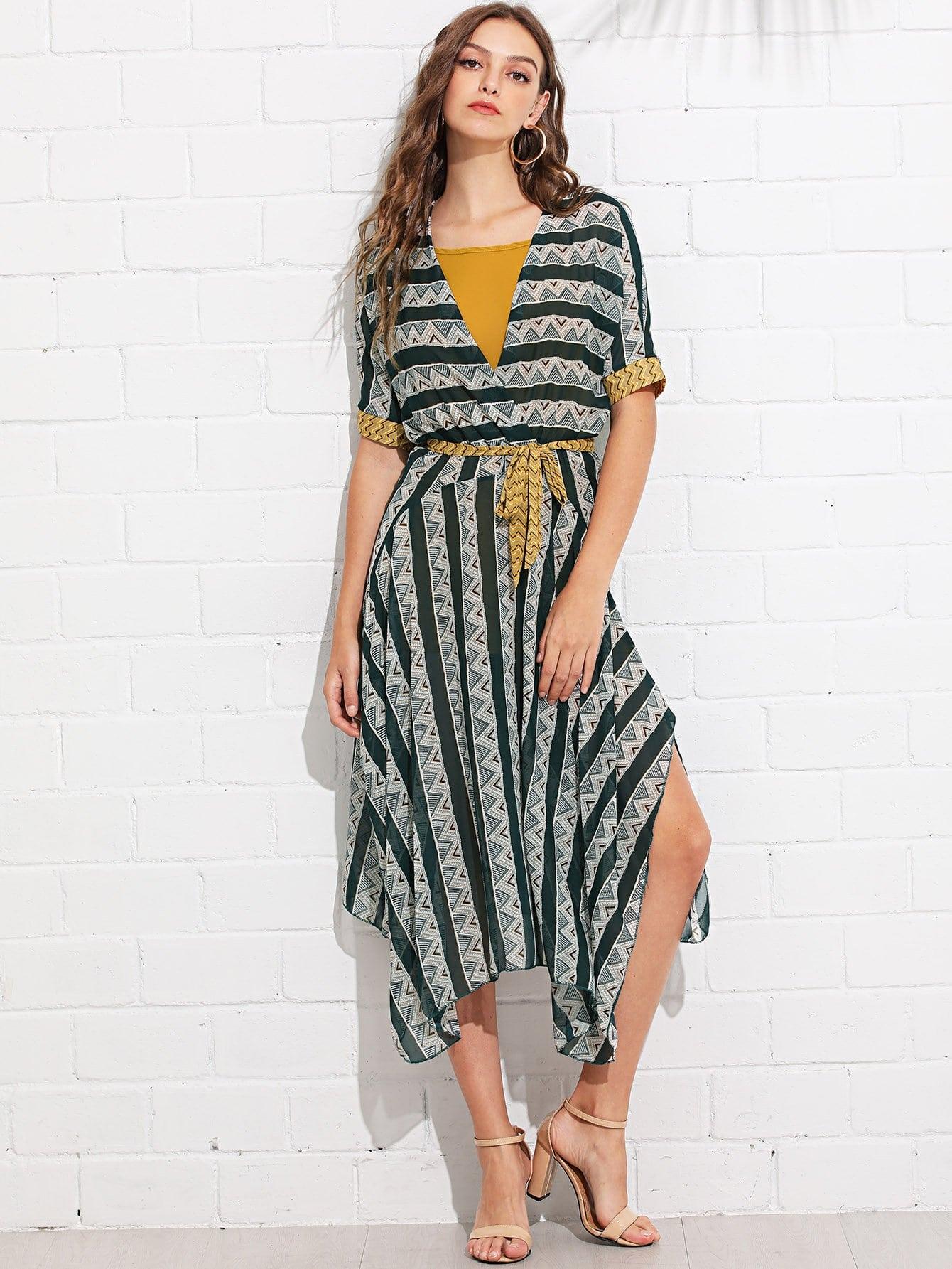 Self Tie Waist Geo Print Dress self tie shoulder shirred bodice geo dress