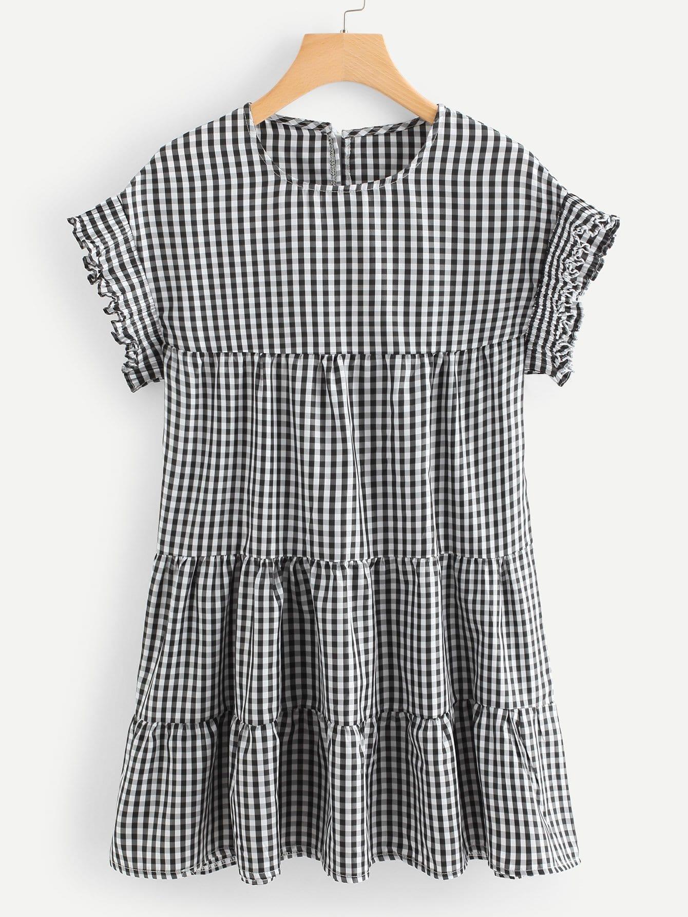 Frill Trim Checked Dress favourite 1789 1w