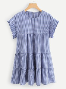 Frill Trim Checked Dress