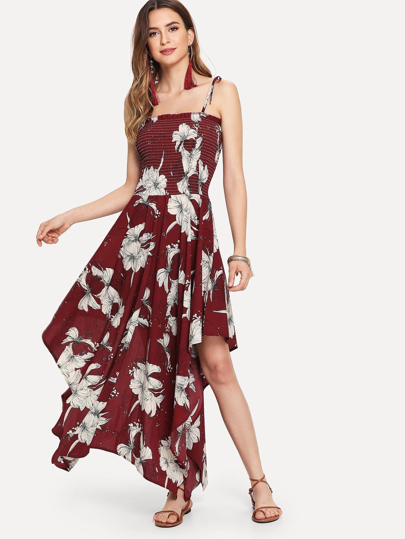 Купить Асимметричное платье из цветной печати Cami, Jana, SheIn