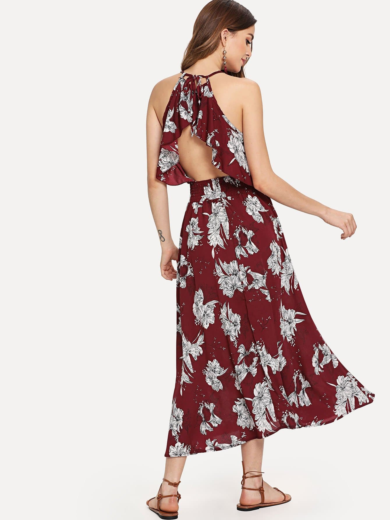 Ruffle Trim Cut Out Back Floral Dress