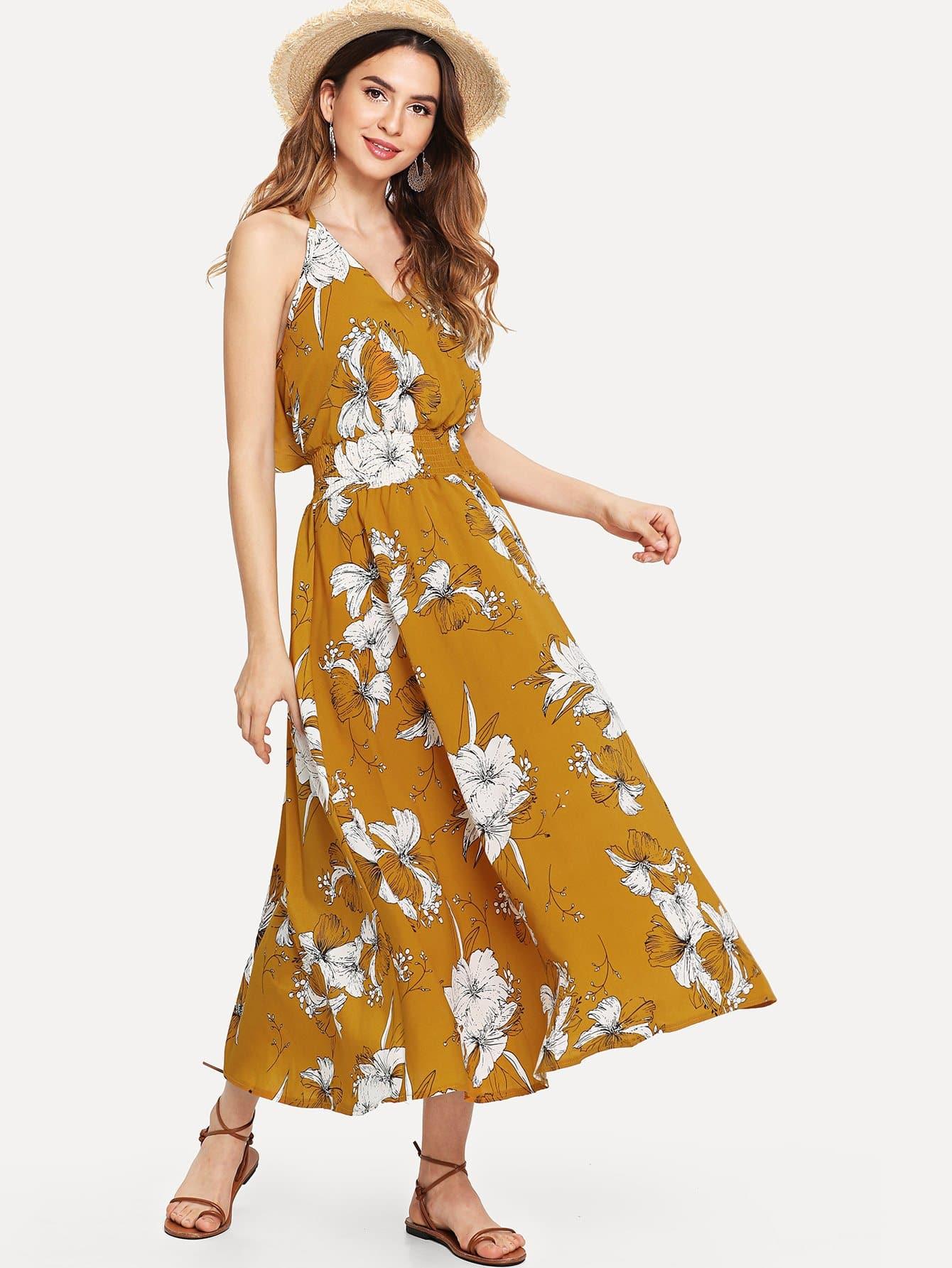 Ruffle Trim Cut Out Back Floral Dress ruffle trim cut out back halter top