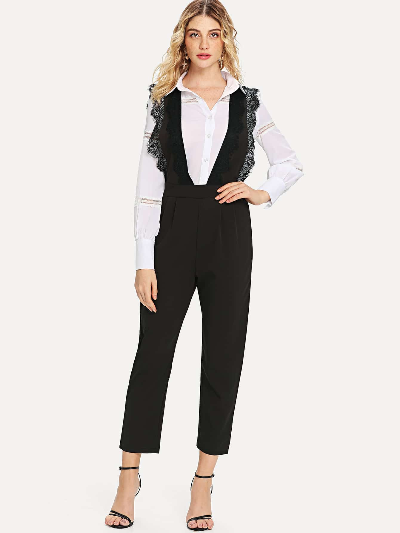 Lace Trim Open Back Jumpsuit frayed trim open front tweed blazer