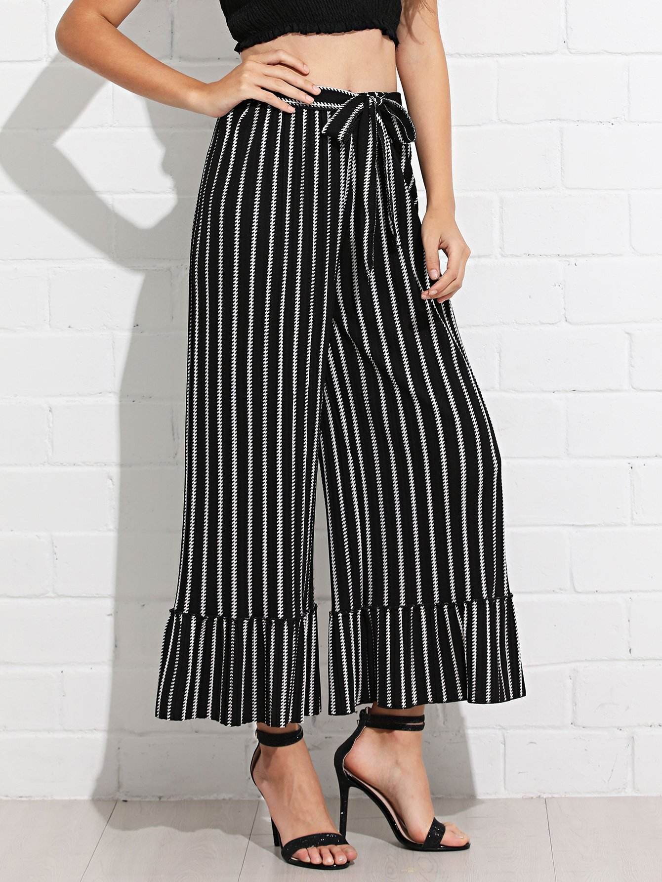 Knot Front Striped Wide Leg Pants knot front wide leg printed jumpsuit