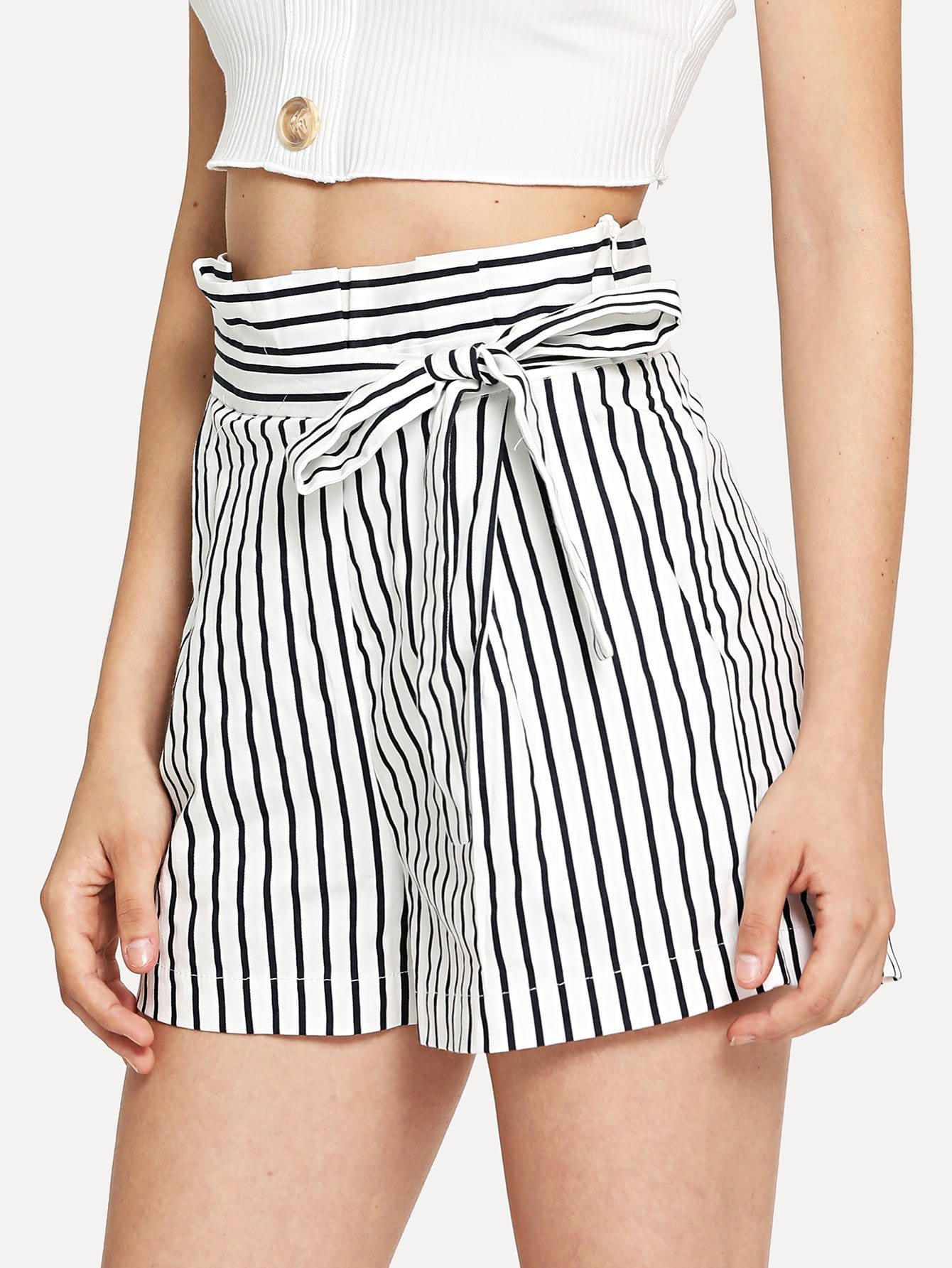 Knot Side Striped Shorts striped tape side legging shorts