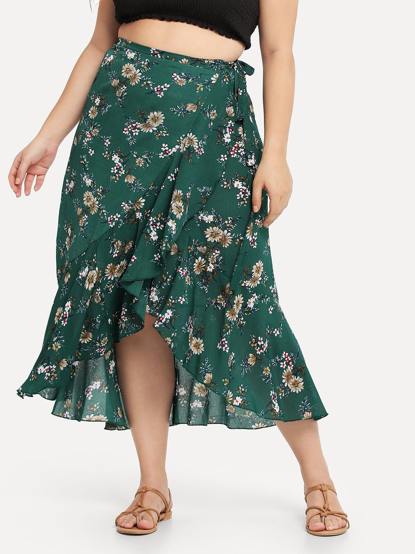 Plus Floral Print Ruffle Trim Knot Side Skirt knot side overlap ruffle trim dot skirt