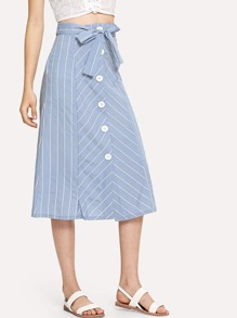 Single Breasted Knot Front Striped Skirt