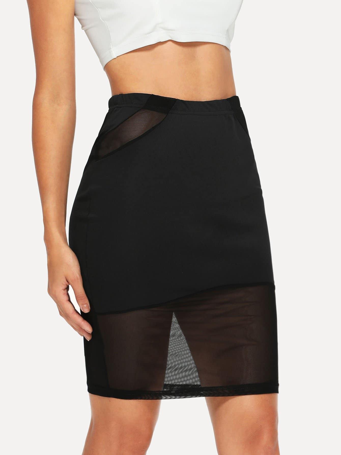 Купить Эластичная сетчатая сетчатая юбка, Juliana, SheIn