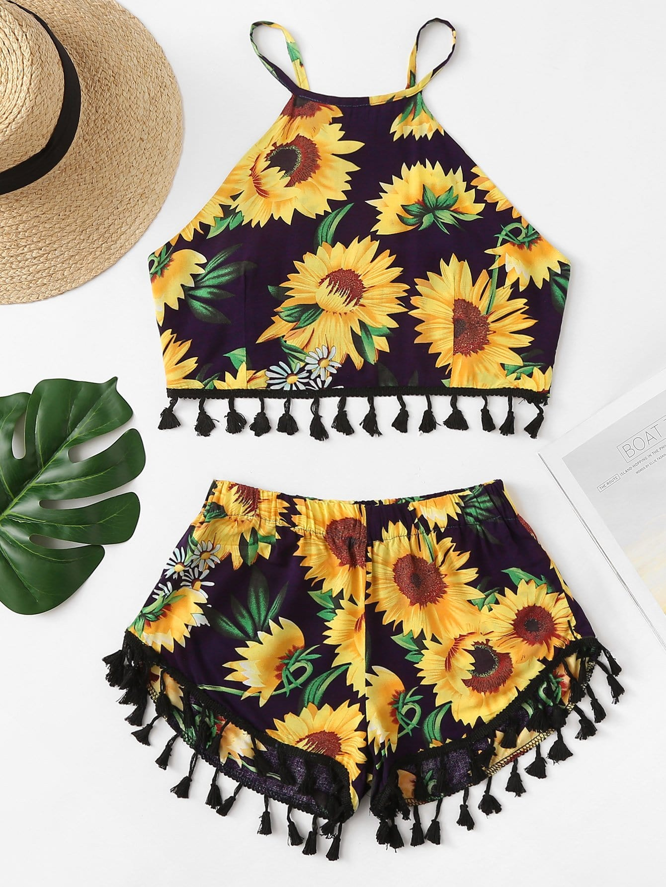 Floral Print Fringe Hem Cami With Shorts hanky hem floral print cami tank top