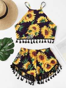 Floral Print Fringe Hem Cami With Shorts
