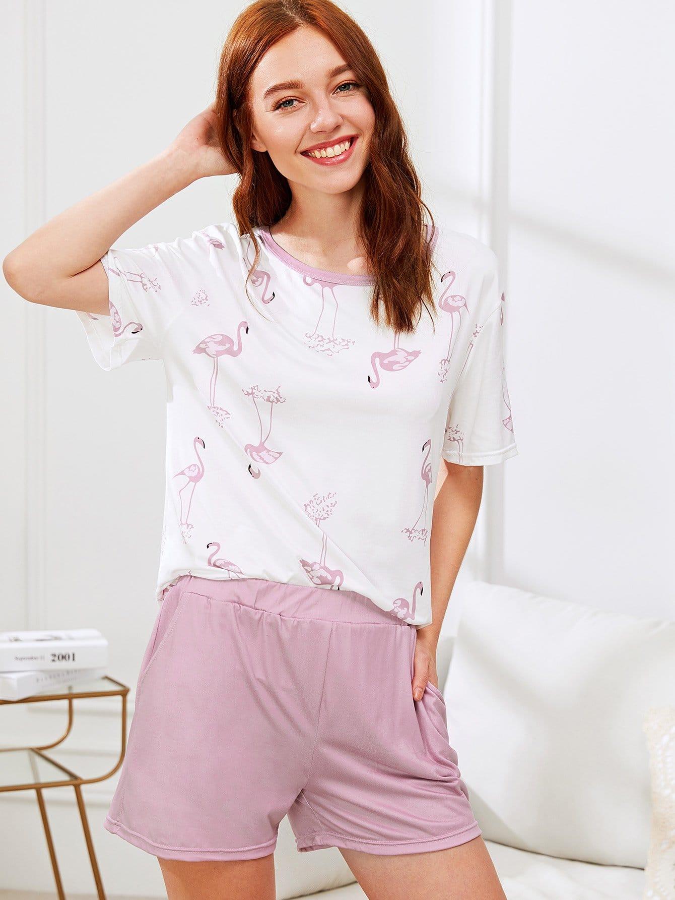 Купить Комплект пижамы топ фламинго и шорты, Poly, SheIn