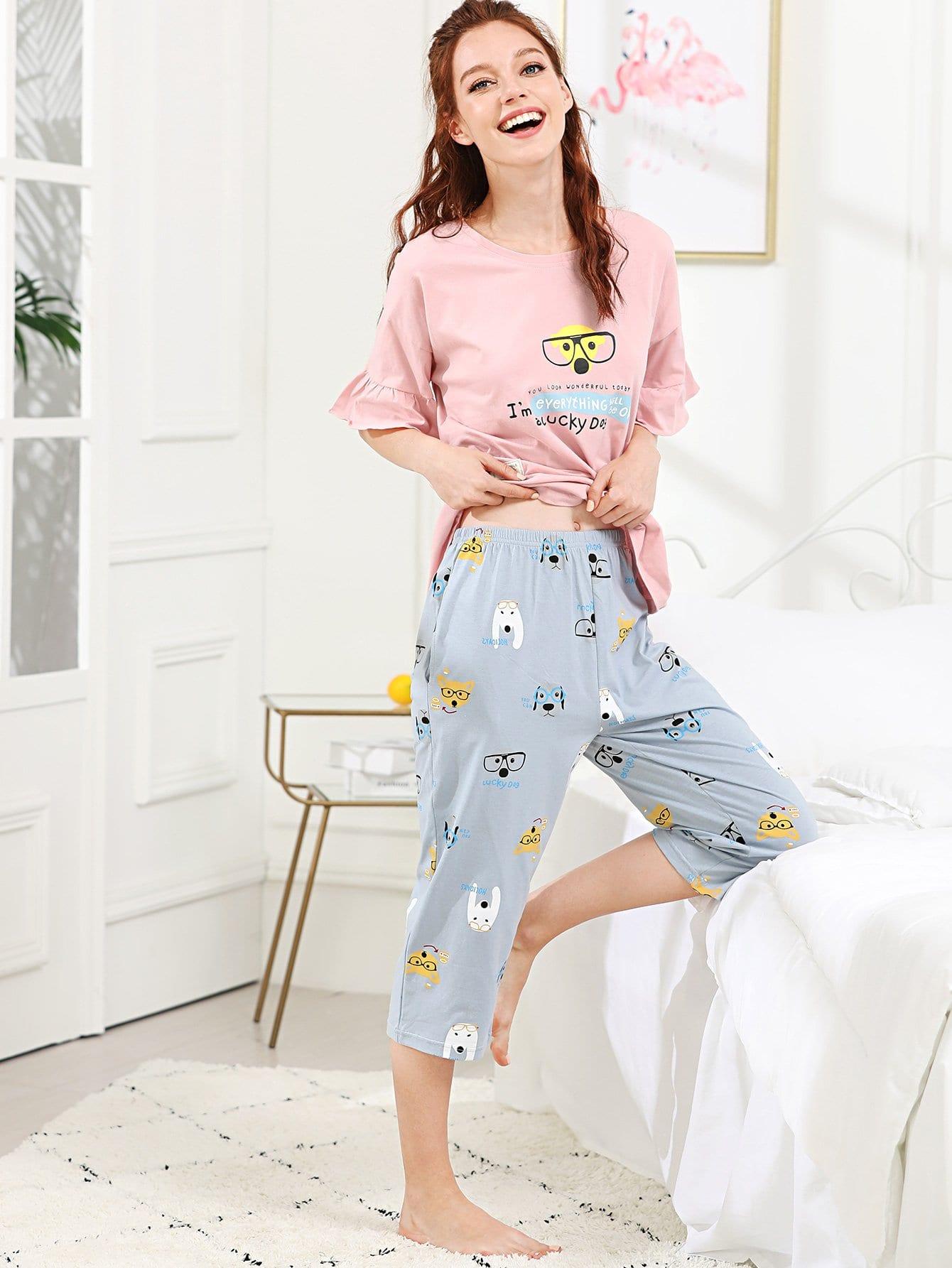 Dog Print Ruffle Hem Pajama Set furutech fi e30 ncf r