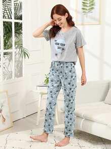 Dandelion & Letter Print Pajama Set
