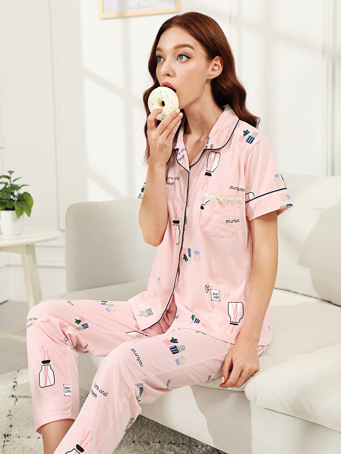 Cartoon Print Pajama Set все цены