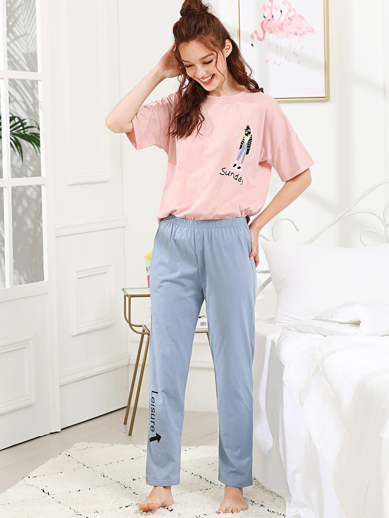 Cartoon & Letter Print Pajama Set all over cartoon print pajama set