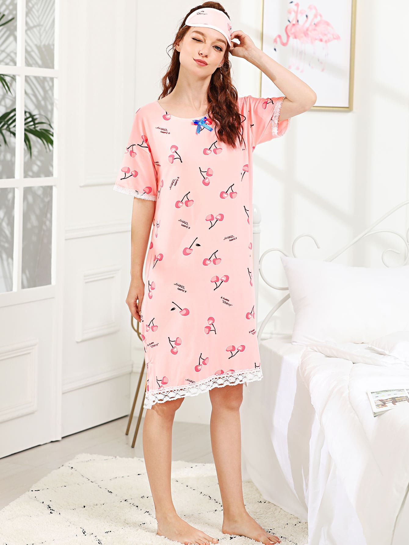 Cherry & Letter Print Night Dress With Eye Mask rabbit print polka dot night dress with eye mask