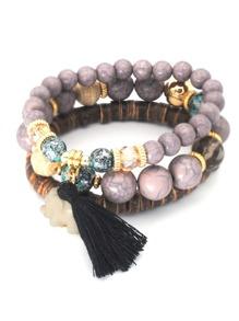 Gemstone & Tassel Detail Bracelet Set 3pcs