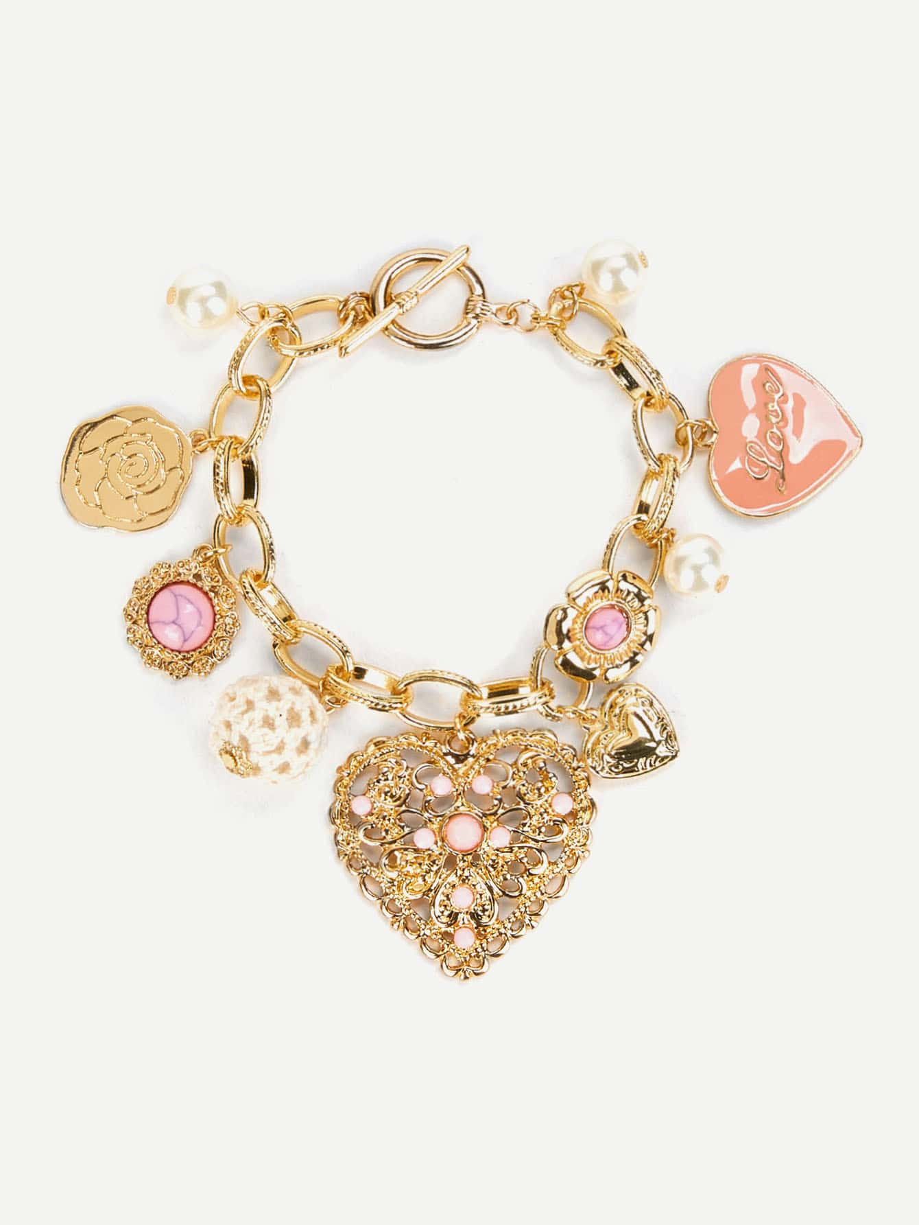 Flower & Heart Decorated Chain Bracelet