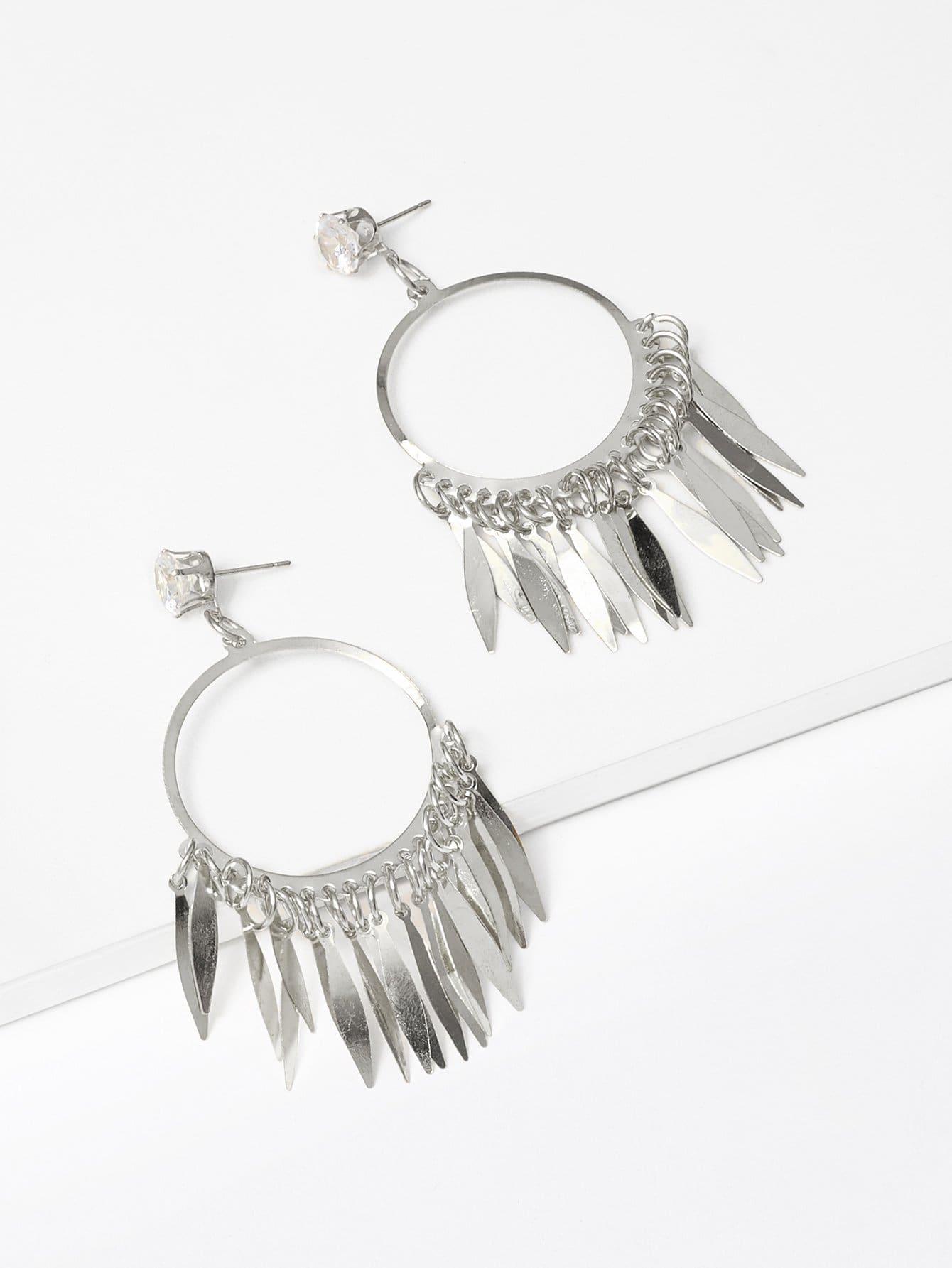 Fringe Detail Hoop Drop Earrings bow detail hoop drop earrings